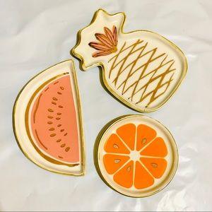 3x Cute trinket plate watermelon pineapple orange